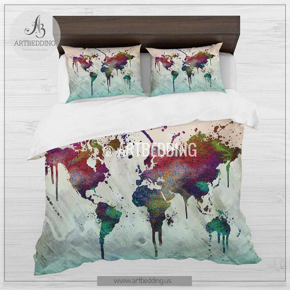 Boho map bedding world map abstract splashes duvet cover set boho chic duvet set world map abstract splashes bedding world map art duvet cover gumiabroncs Choice Image