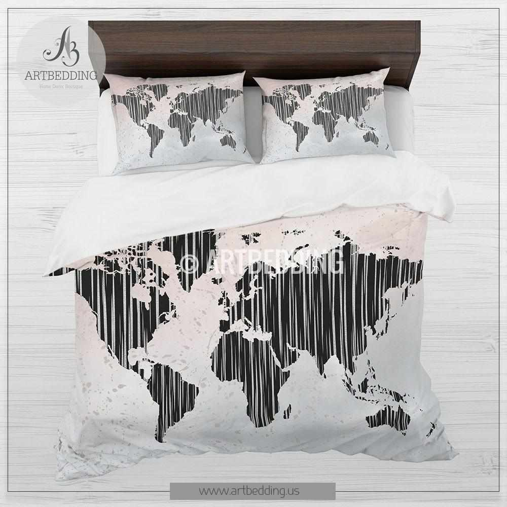 Abstract map bedding boho world map blush pink and gray duvet boho chic duvet set world map blush pink and gray bedding world map art gumiabroncs Gallery