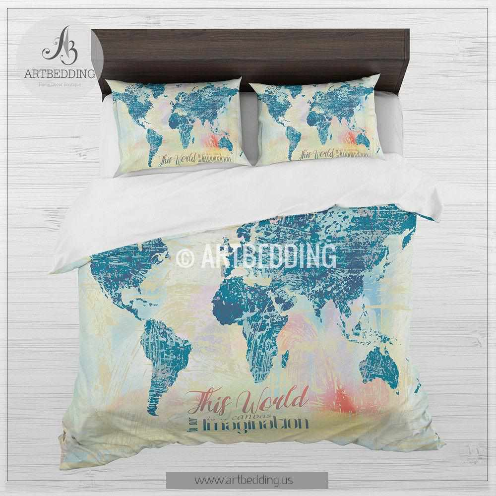 Boho world map bedding watercolor quote duvet cover set modern boho chic world map bedding watercolor quote duvet cover set modern splashes art bedding gumiabroncs Gallery