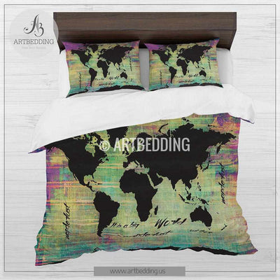 Boho Chic world map duvet set, World map neon grunge bedding, World map art duvet cover set, Bohemian duvet cover set, Dorm bedding, watercolor bedroom decor Bedding set