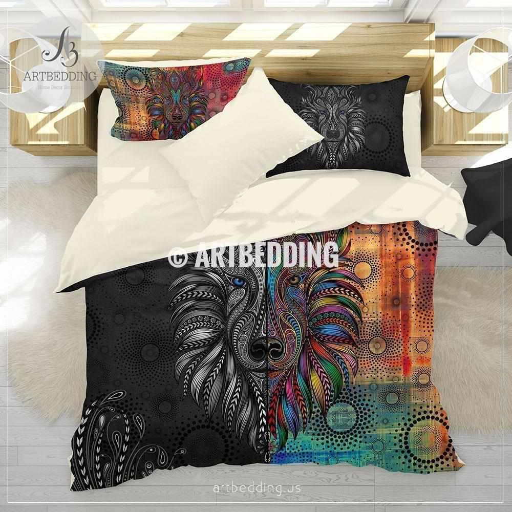 Boho Deer skull bedding, Watercolor deer skull duvet bedding set, Deer skull comforter set, Feathers skull bedroom decor Bedding set