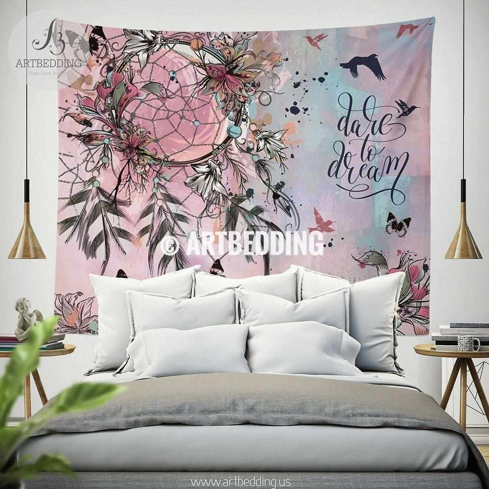 Boho Dreamcatcher wall tapestry, Wartercolor dreamcatcher feathers wall hanging, Dreamcatcher quote wall art print, Butterflies boho wall tapestries Tapestry