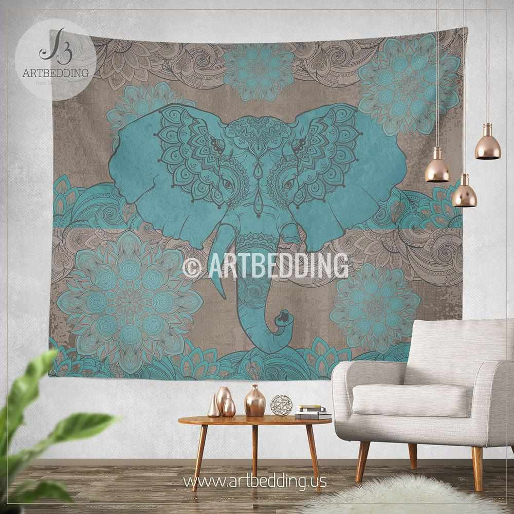 Distressed Wall Decor boho elephant tapestry, ganesh elephant wall hanging, indie shabby