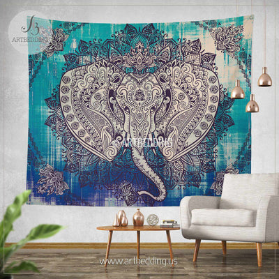 Boho Elephant Tapestry, Ganesh Elephant wall hanging, Indie shabby chic distressed tapestry wall decor, bohemian wall tapestries, artbedding wall art Tapestry
