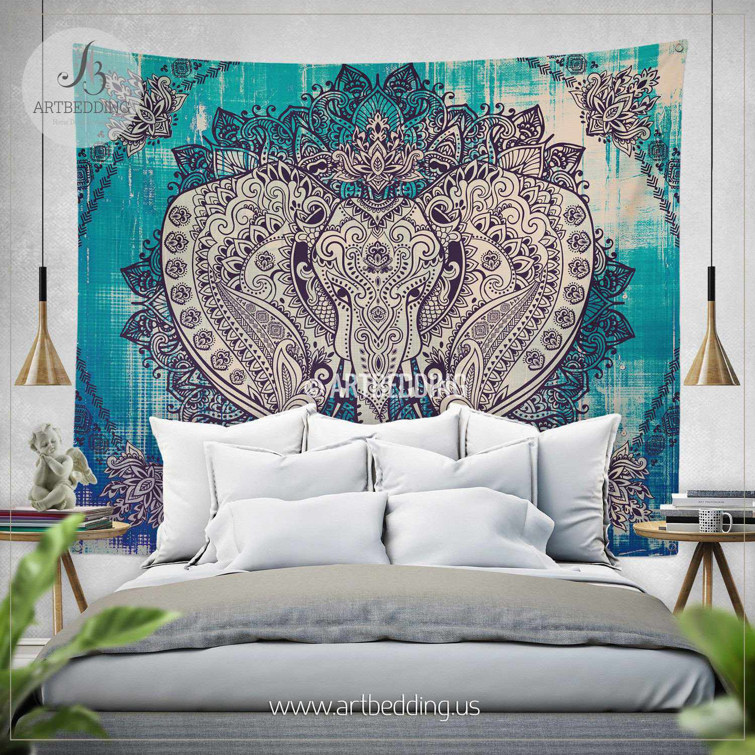 Tapestry Wall Art boho elephant tapestry, ganesh elephant wall hanging, indie shabby