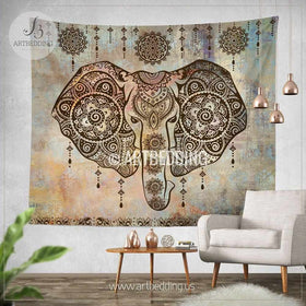 Boho Elephant Tapestry, Ganesh Elephant Wall Hanging, Indie Shabby Chic  Tapestry Wall Decor, ...