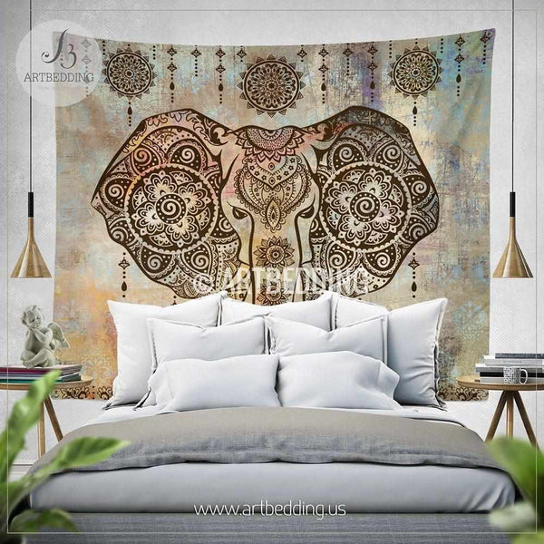 Boho elephant tapestry ganesh elephant wall hanging for Room decor ideas tapestry