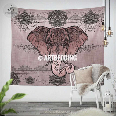 Boho Elephant Tapestry, Rose Gold elephant lotus wall tapestry, Hippie tapestry wall hanging, bohemian wall tapestries, Boho wall decor Tapestry