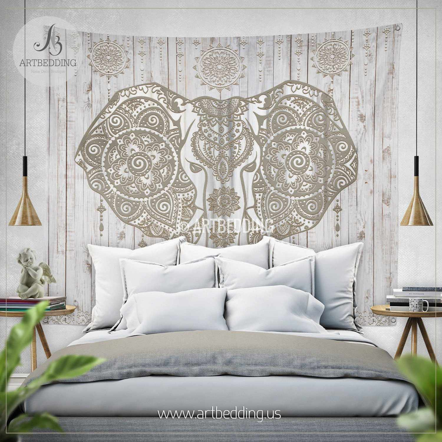 Boho elephant wall tapestry ethno ganesh elephant wall for Elephant wall mural