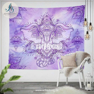 Boho elephant wall Tapestry, Ganesha Elephant god wall tapestry, Goleden lotus spiritual  wall hanging, elephant boho wall  decor Tapestry
