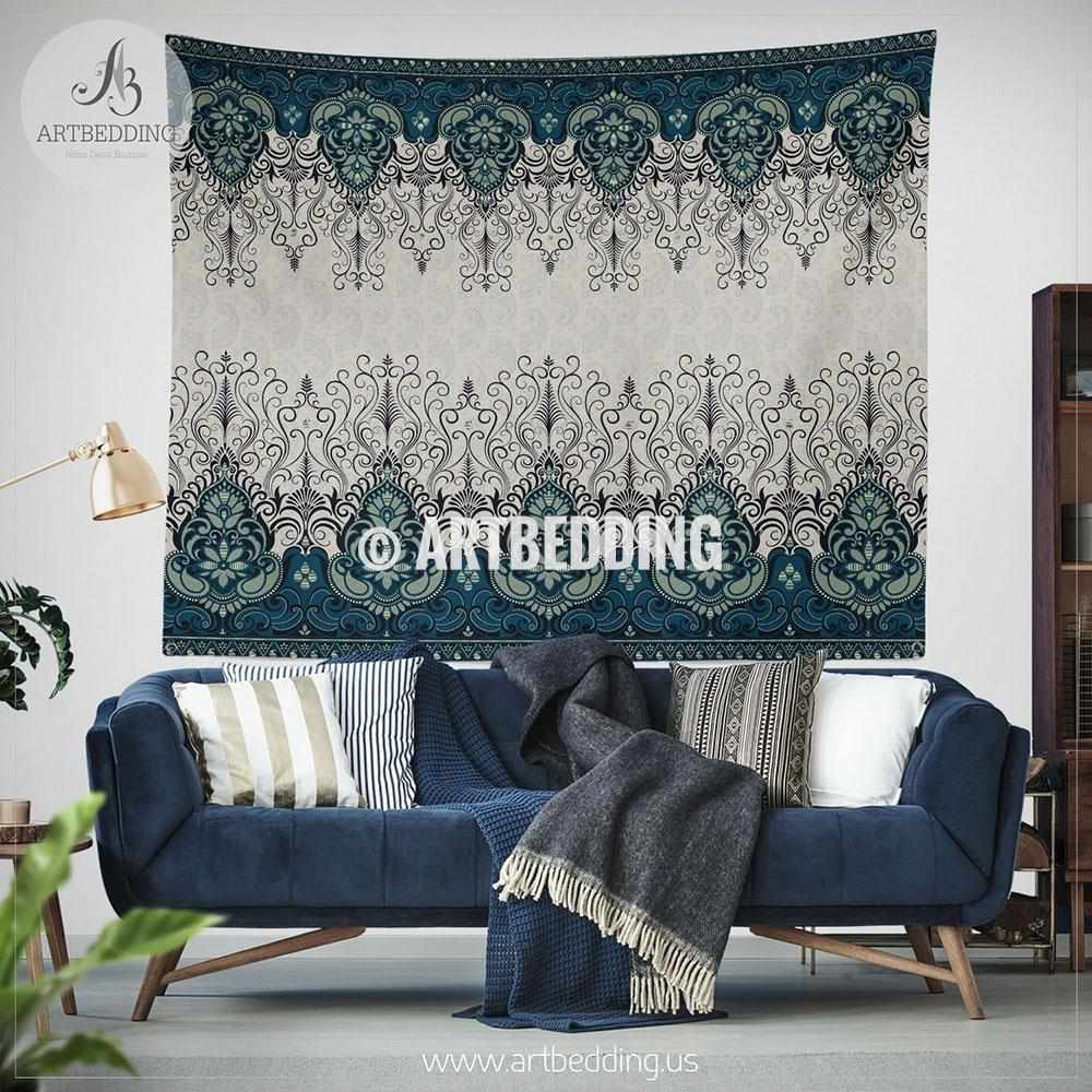 Boho Ethno indie TAPESTRY, Indie paisley navy and cream Wall hanging, Ethno indie Tapestry, Boho wall decor Tapestry