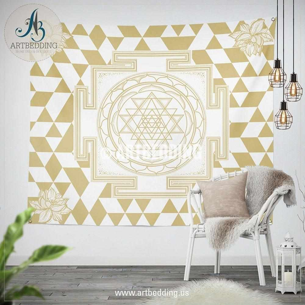 Boho flower of life wall Tapestry, Sacred Yantra Om wall tapestry, Elephant talisman spiritual tapestry wall hanging, Spiritual bohemian decor Tapestry