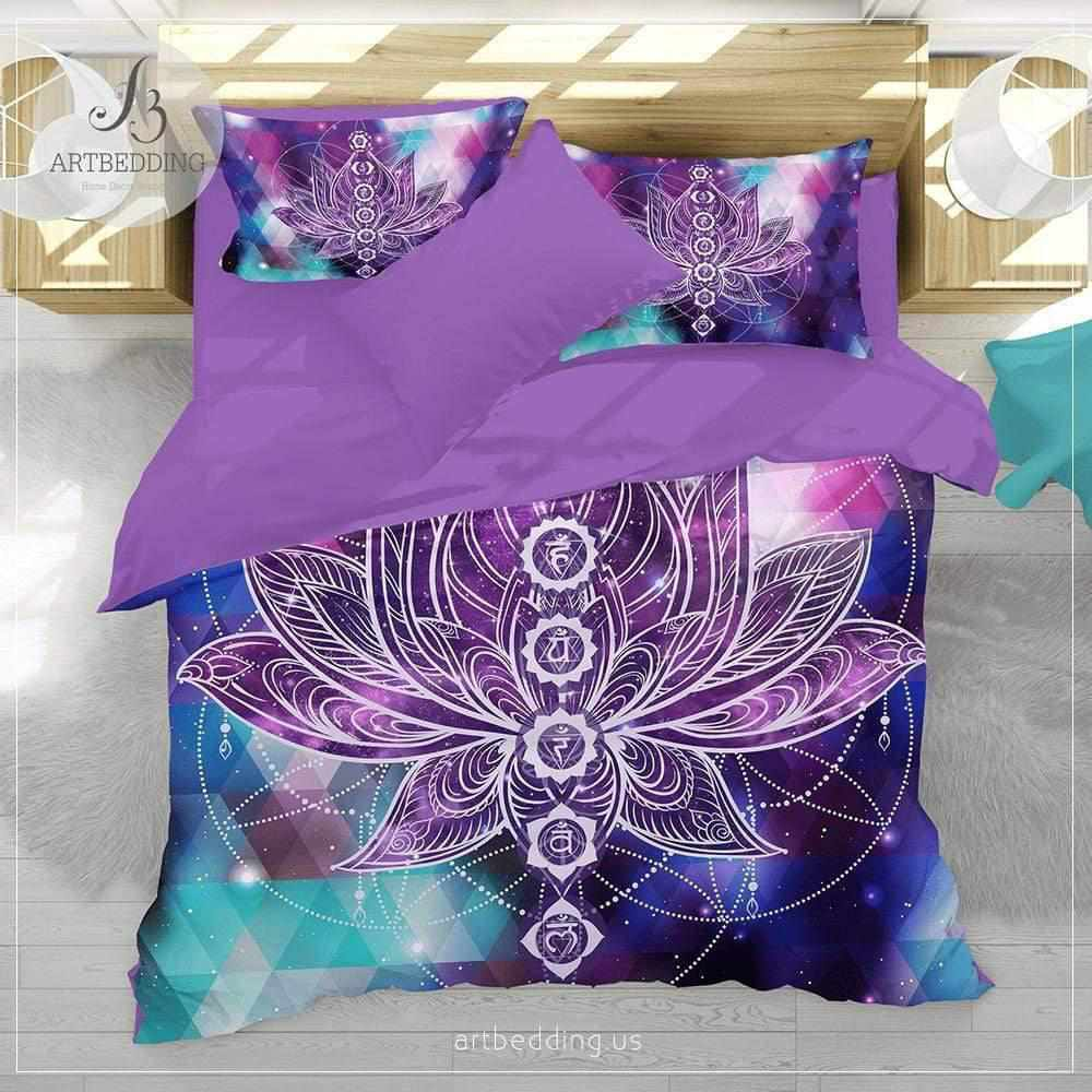Boho galaxy bedding, Lotus galaxy duvet cover set, Yoga bedding, Chakras bedspread Bedding set