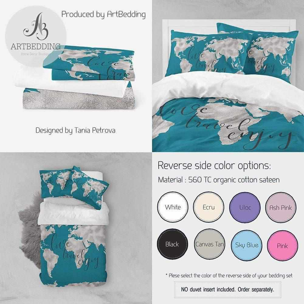 Boho gold metallic effect world map bedding, Bohemian aegean blue wanderlust world map duvet cover set, Modern wanderlust world map comforter set Bedding set