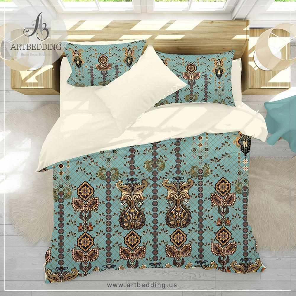 Boho Indian vintage bedding, Indie duvet cover set, Traditional India boho comforter set, boho bedroom decor Bedding set