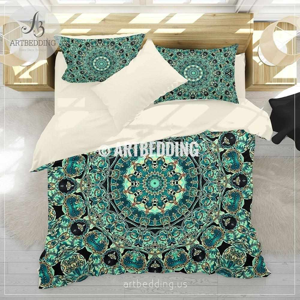 Boho Mandala bedding, Aqua and teal blue boho duvet cover set, teal boho comforter set, Boho bedding, mandala home decor Bedding set