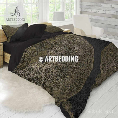 Boho mandala bedding, Black and gold Mandala bedding, Gold mandala comforter set, bohemian bedroom decor Bedding set