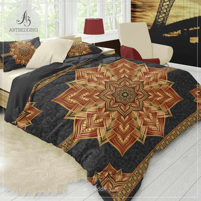 Boho mandala bedding, Black red and gold Mandala bedding, Golden mandala duvet, bohemian bedroom decor Bedding set