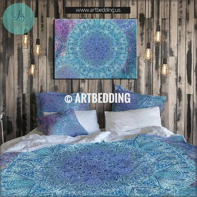 Boho mandala bedding, Mandala duvet cover set, Serenity ethno Indie art comforter set, bohemian bedroom Bedding set
