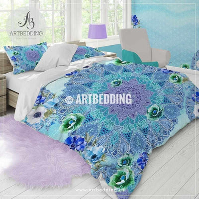 Boho mandala bedding, Purple and light teal Watercolor Mandala duvet cover set, Handdrawn ethno Indie art duvet cover set, Boho mandala comforter set, bohemian bedroom Bedding set