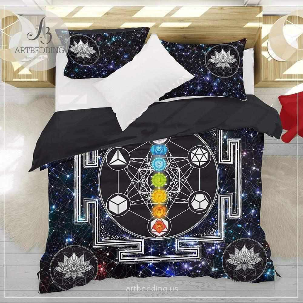 Boho sacred geometry bedding, Sacred yantra talisman Metatron cube duvet cover set, sacred geometry galaxy bedspread Bedding set