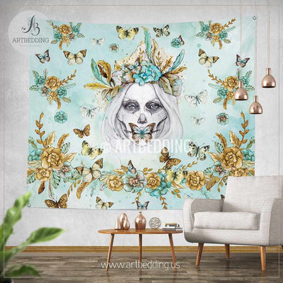 Boho Skull sugar girl wall tapestry, Wartercolor skull boho wall hanging, Green and gold wildflowers wall art print, Butterflies boho wall tapestries Tapestry