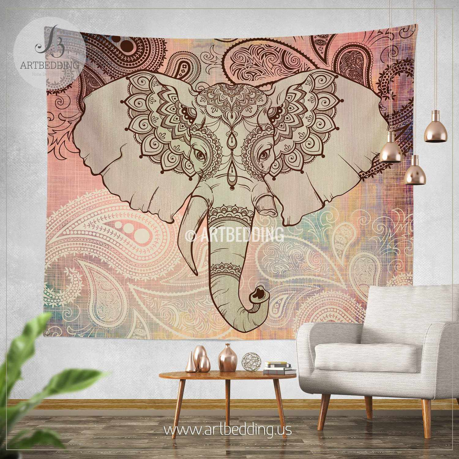 Elephant Tapestry Wall Hanging boho tapestry, elephant mandala wall tapestry, mandala elephant