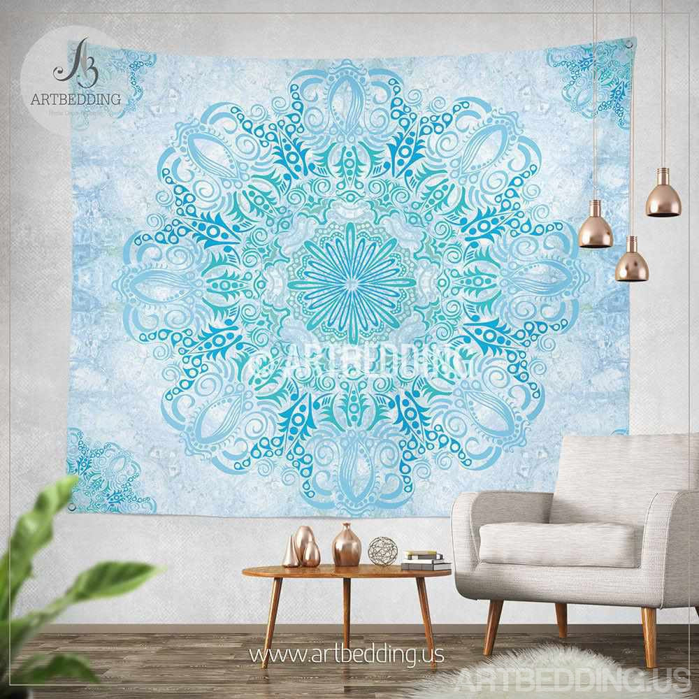 Tapestry Wall Hanging boho tapestry, light blue and green mandala tapestry wall hanging