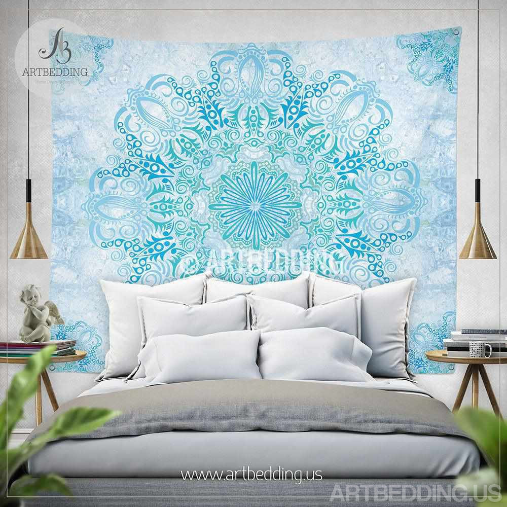 Boho Tapestry, Light blue and green Mandala tapestry wall hanging, bohemian wall decor, boho chic wall hanging Tapestry