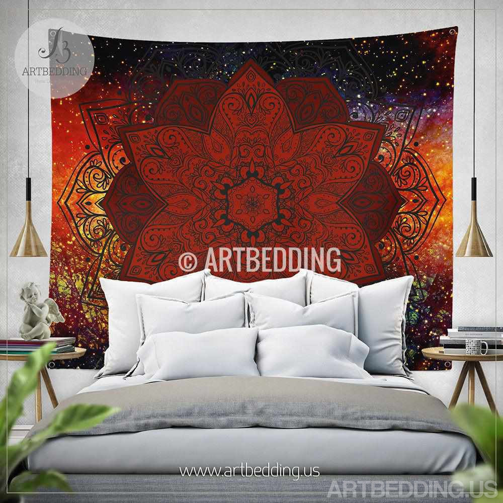 Boho tapestry, Lotus mandala Tapestry, Red galaxy Mandala tapestry wall hanging, bohemian decor, boho chic decor Tapestry