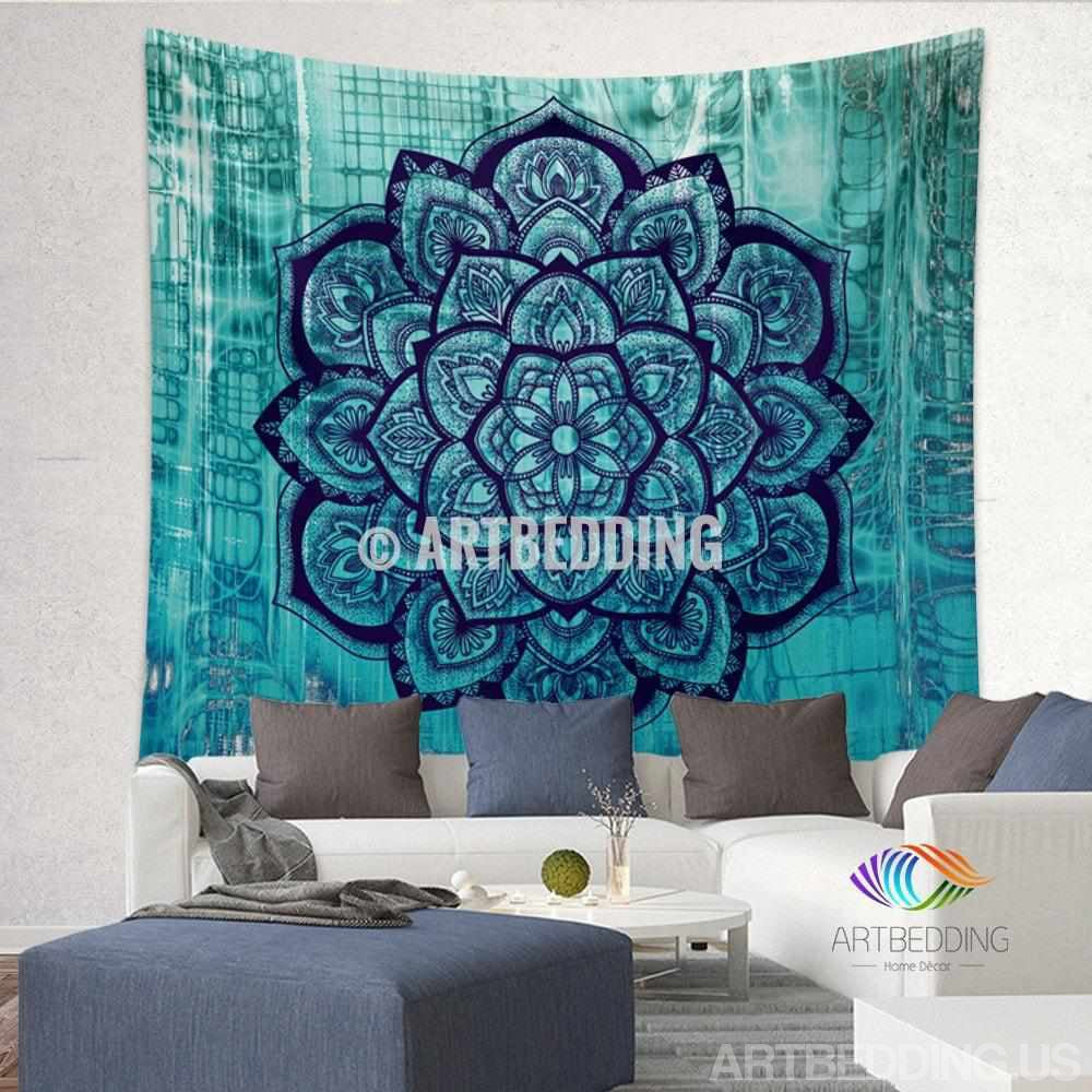 Boho Tapestry, Lotus Mandala tapestry wall hanging, bohemian decor, bohochic turquoise rustic decor Tapestry