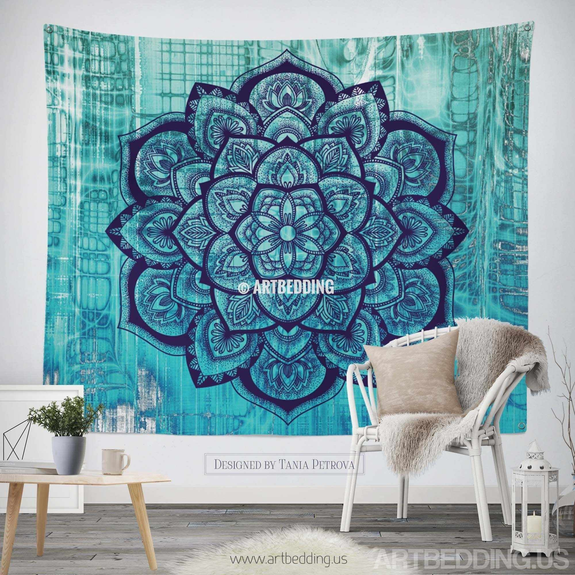 Tapestry Wall Hanging boho tapestry, lotus mandala tapestry wall hanging, bohemian decor