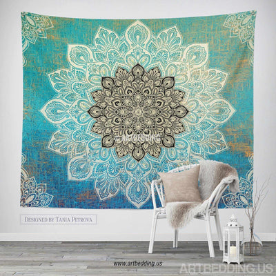 Boho Tapestry, Mandala tapestry wall hanging, bohemian decor, bohochic turquoise rustic decor Tapestry