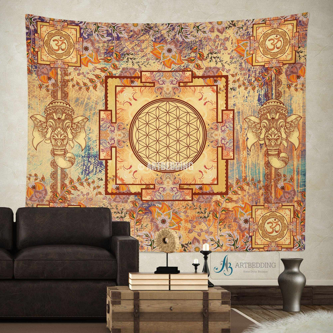 Boho Tapestry, Sacred Yantra wall tapestry, Hippie tapestry wall hanging, Spiritual bohemian decor