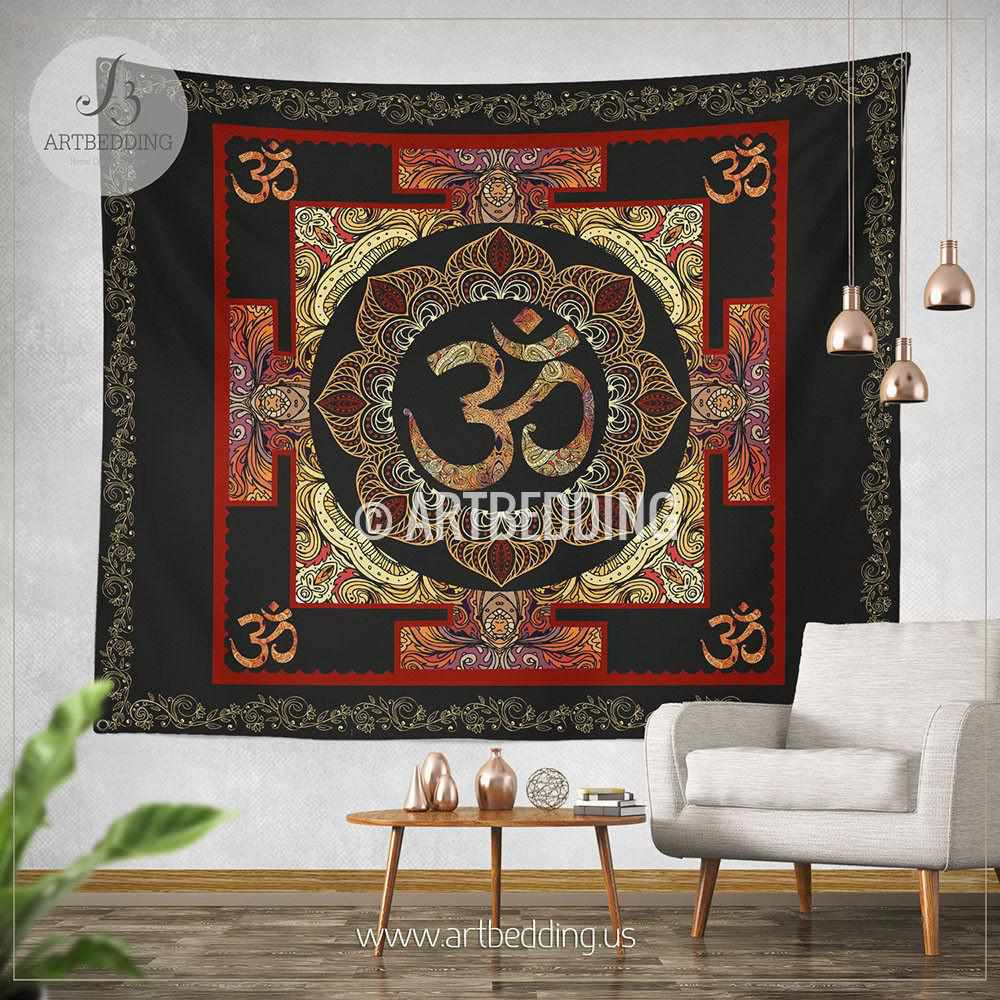 Boho Tapestry, Sacred Yantra wall tapestry, Hippie tapestry wall hanging, Spiritual bohemian decor Tapestry