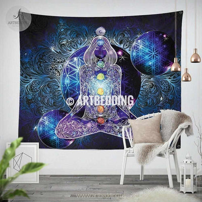 Boho Tapestry, Spiritual chakra wall tapestry, Hippie tapestry wall hanging, Cosmic flower of life wall tapestry, Spiritual bohemian decor Tapestry