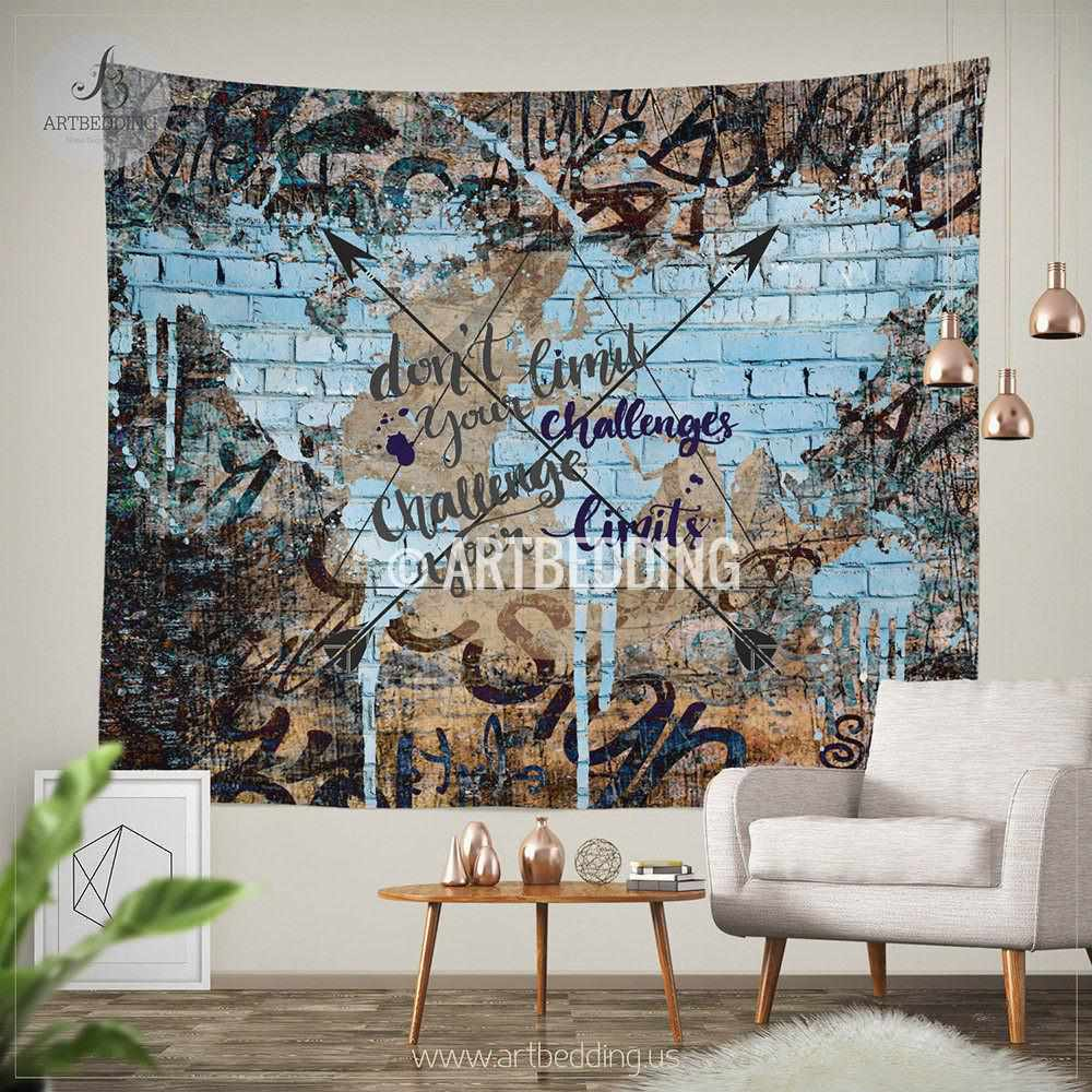 Boho tapestry, Urban graffiti wall Tapestry, Inspirational quote ...