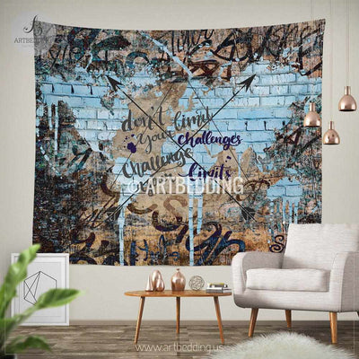 Boho tapestry, Urban graffiti wall Tapestry, Inspirational quote wall decor, Hippie tapestry wall hanging, bohemian wall tapestries,  boho chic decor Tapestry