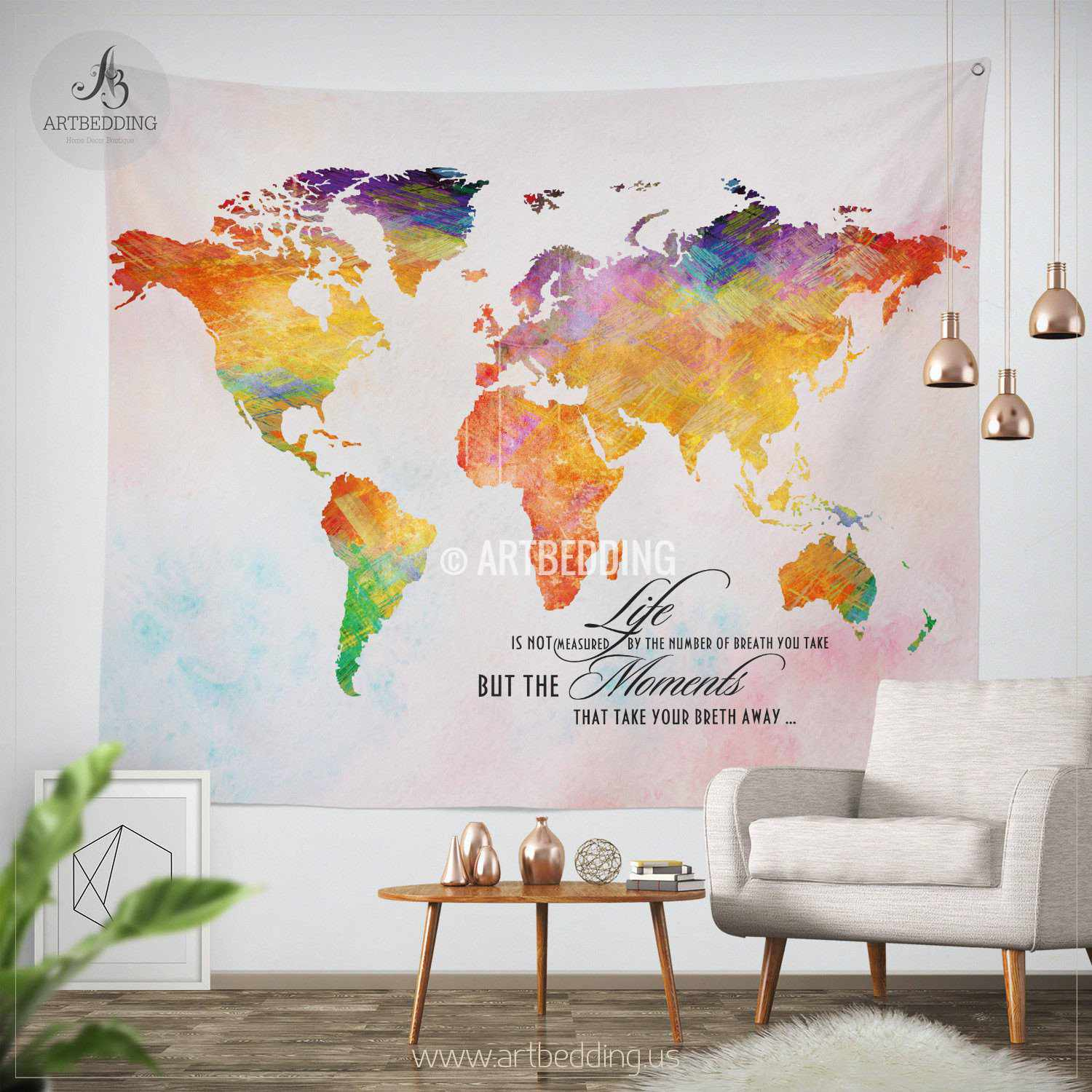 Boho world map tapestry watercolor life quote wall tapestry boho tapestry urban graffiti wall tapestry inspirational quote wall decor hippie tapestry wall gumiabroncs Gallery