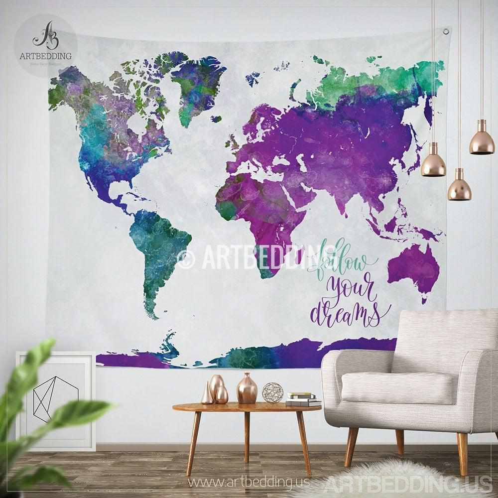 World Map Tapestry Wall Hanging boho tapestry, watercolor world map wall tapestry, modern