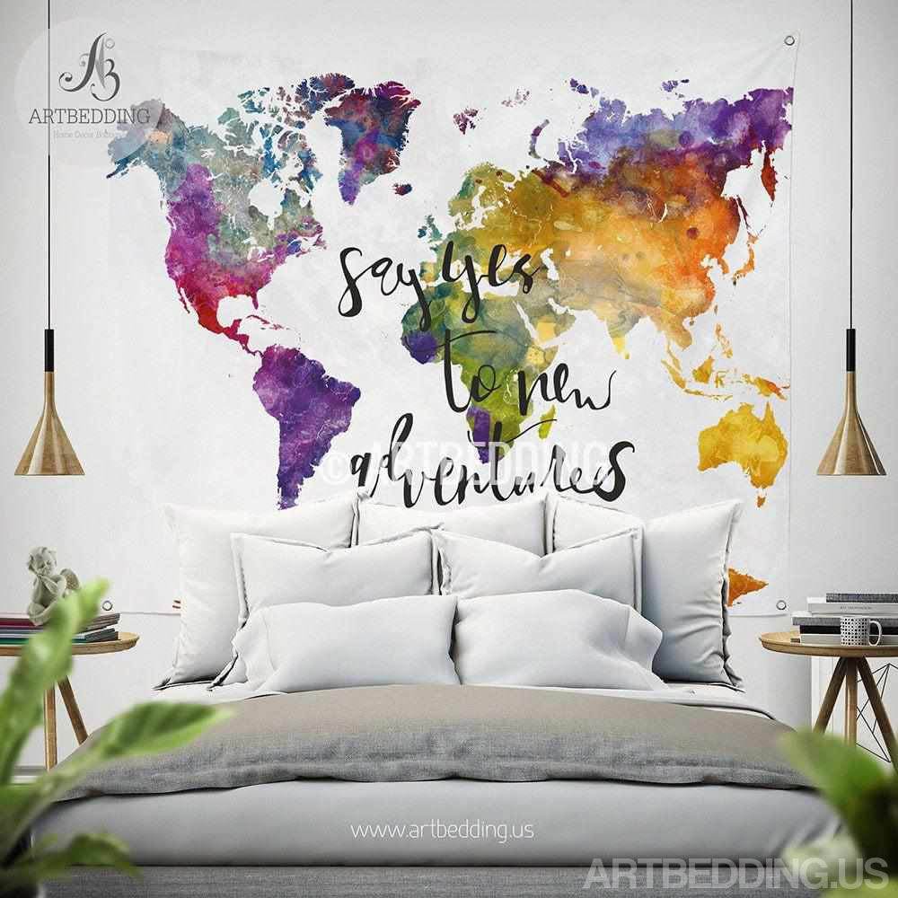 boho tapestry world map watercolor wall tapestry modern  -  boho tapestry world map watercolor wall tapestry modern calligraphy walltapestry hippie tapestry