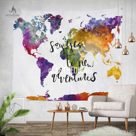 Wall murals wall tapestries canvas wall art wall decor tagged boho tapestry world map watercolor wall tapestry modern calligraphy wall tapestry hippie tapestry gumiabroncs Images