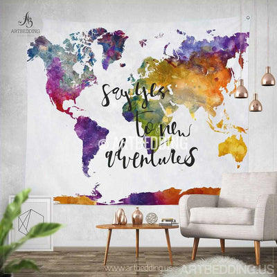 Boho tapestry, World map watercolor wall Tapestry, Modern calligraphy wall tapestry, Hippie tapestry wall hanging, bohemian wall tapestries, boho chic tapestries, bohemian decor Tapestry