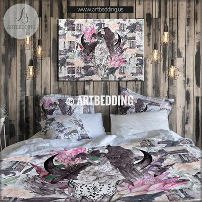 Boho totem bedding, Watercolor bison skull crow duvet bedding set, Gothic totem bedding, Vintgae flowers skull bedroom decor Bedding set
