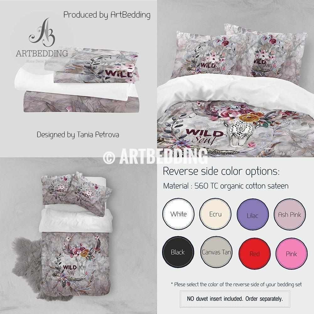 Boho totem bedding, Watercolor deer skull duvet bedding set, totem animal spiritual bedding, Wildflowers skull bedroom decor Bedding set