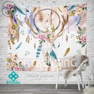 Boho Totem Dreamcatcher wall tapestry, Wartercolor Deer Skull wall hanging, Deer Head hand drawn wildflowers wall art print, Butterflies boho wall tapestries