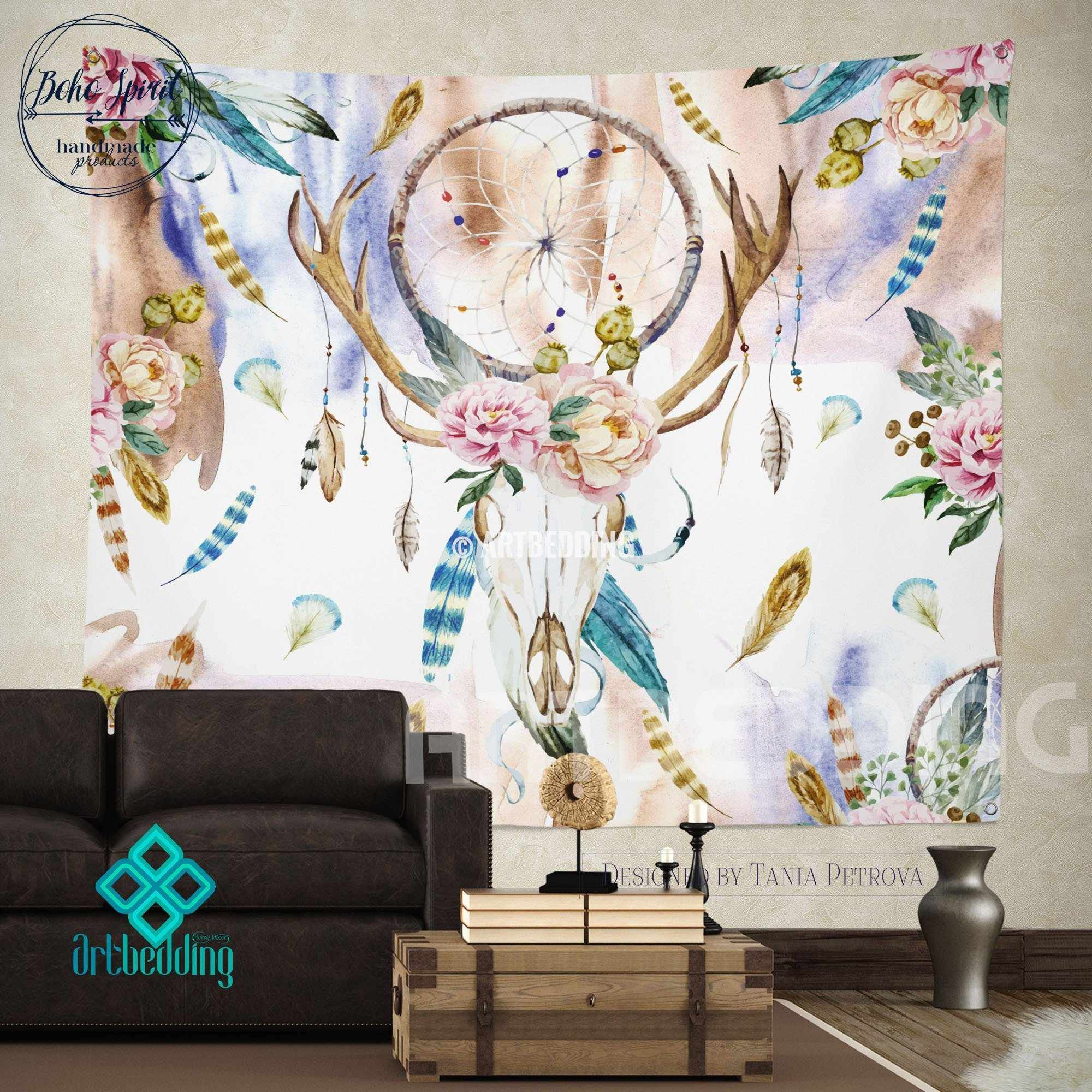 Boho Wall Hanging boho totem dreamcatcher wall tapestry, wartercolor deer skull wall