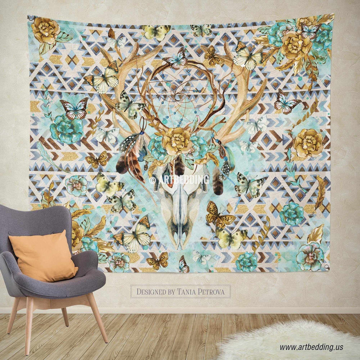 Boho Totem Dreamcatcher wall tapestry, Wartercolor Deer Skull wall hanging, Deer Head hand drawn wildflowers wall art print, Butterflies boho wall tapestries Tapestry