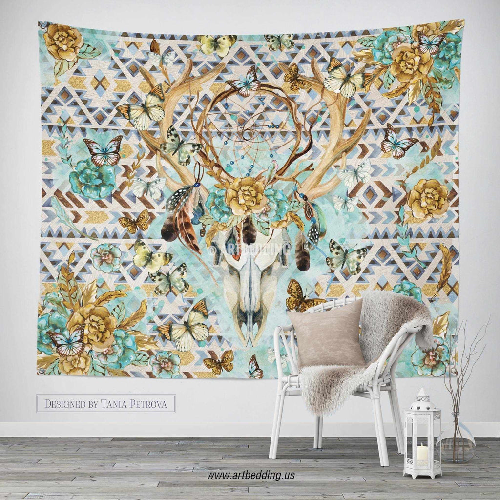 boho totem dreamcatcher wall tapestry wartercolor deer skull wall  - boho totem dreamcatcher wall tapestry wartercolor deer skull wall han artbedding