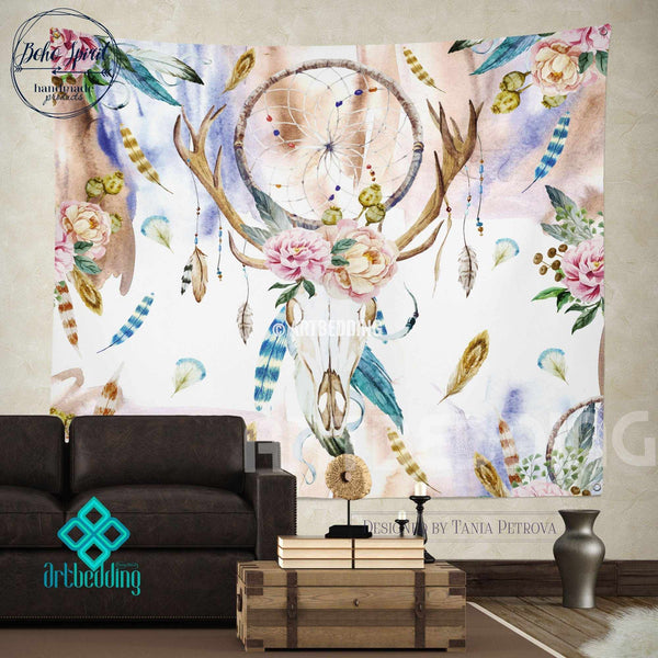 Boho Totem Dreamcatcher Wall Tapestry Wartercolor Deer